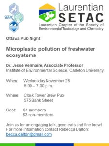 Ottawa Pub Night - Microplastic pollution of freshwater ecosystems @  Clock Tower Brew Pub | Ottawa | Ontario | Canada